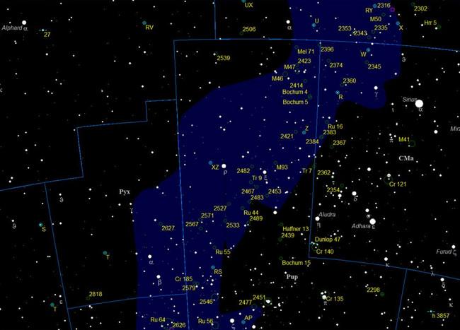 Область созвездия Корма. Карта